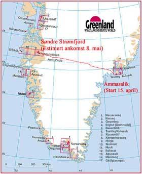kart over grønland Ski over Grønland   Ekspedisjon   Utlevelser kart over grønland